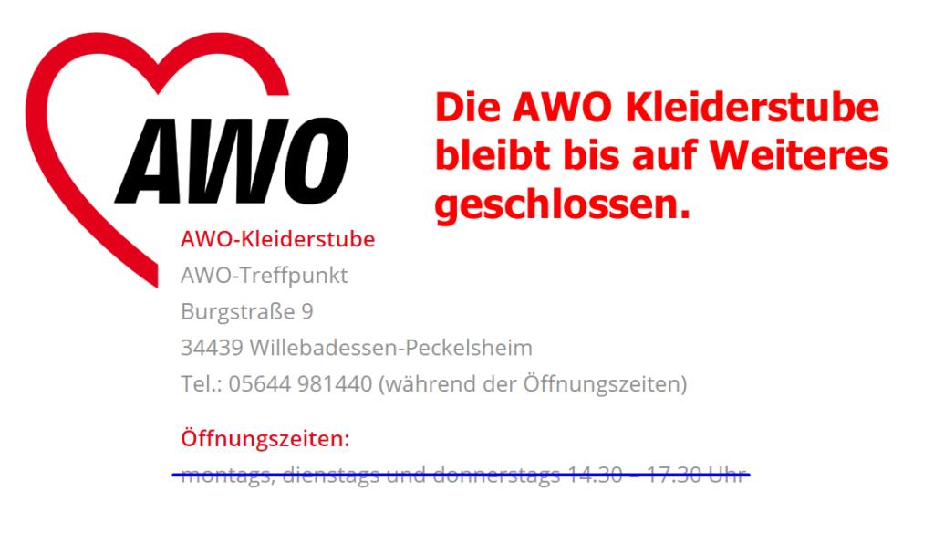 Die AWO Kleiderstube bleibt bis auf Weiteres geschlossen.